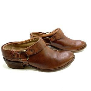 FRYE Leather Slip On Mules Harness Buckle Clogs